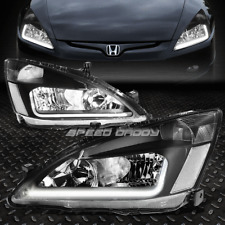 [LED DRL]FOR 2003-2007 HONDA ACCORD BLACK HOUSING CLEAR SIDE HEADLIGHT/LAMP SET