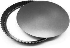 23cm Round Fluted Tart Tin Pie Quiche Flan Trays Loose Bottom Base Pan