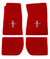 NEW! 1965-1973 Ford Mustang RED Floor mats with Logo Set 4 Carpet Pony Bars CONV
