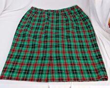 Pendleton Skirt Size 16 Petite Green Red Plaid Pencil Darts Virgin Wool Lined