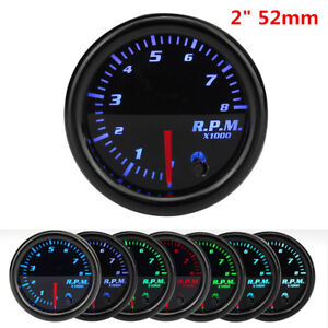 "Auto Car 2"" 52mm Tachometer Tach RPM Gauge Digital 7 Color LED Display 0-8000RPM"