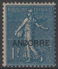 "FRENCH ANDORRA STAMP YVERT 18 "" SOWER 1 F BLUE 1931 "" MNH VVF K646A"