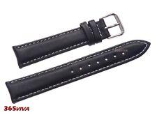 19mm Black Smooth Genuine Leather White Stitching Watch Strap Band Bracelet