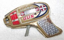 VINTAGE ATOMIC RAYGUN PISTOL--TIN TOY--SPACEAGE--FRICTION--OLD--WORKS!