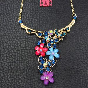Women's Blue Crystal Enamel Butterfly Flower Betsey Johnson Choker Necklace