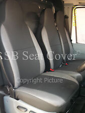 VW TRANSPORTER T5 VAN SEAT COVERS- ANTHRACITE CLOTH + DARK LEATHERETTE TRIM
