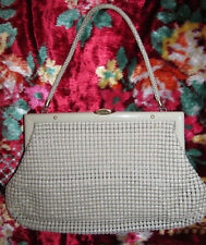 vintage 50's GLOMESH ivory metal mesh  lucite frame evening pin up hand bag