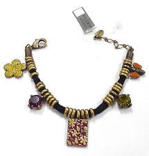 Pilgrim 16k Gold Plated Bracelet Swarovski Crystals Charm Heart Open Locket