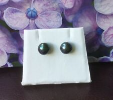 #fp3  925 Sterling Silver Genuine Peacock / Black Freshwater Pearl Stud Earrings