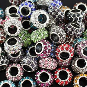 5pcs Czech Crystal Tibetan Silver Rondelle Charm Beads for European Bracelet DIY