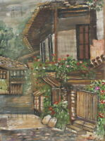 Vintage impressionist oil painting cityscape signed