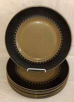 """8 Franciscan DISCOVERY TAHITI BROWN 10 1/4"""" DINNER PLATES"""