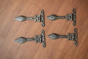 Vintage cast iron handmade french gate door hinges head barn rusty 4 pcs lot