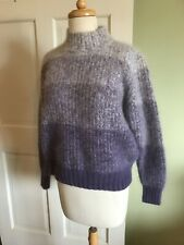 Vintage White Stag Sweater Womens Angora blend  Ombre Purple approx Med. eeuc .