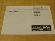 1 ALTEC LANSING MODEL 85 95 96 100 SPEAKER SYSTEM ORIGINAL OWNER'S MANUAL-EC