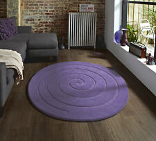 LARGE LILAC LAVENDER 100% THICK SOFT CHUNKY WOOL ROUND 140cm CIRCULAR SPIRAL RUG