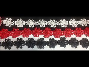 New 23mm Guipure Daisy Lace Trim Applique Flower Motif Red White Black -1 Meter