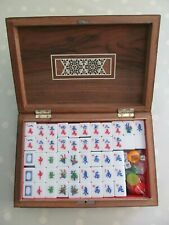 MAH JONG SET / GAME IN A WOODEN MARQUETRY BOX 148 TILES MAH JONGG