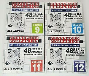 Lot of 4 CROSSWORD COMPANION refill volumes 9,10,11, and 12 Roll-A-Puzzle System