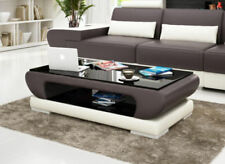 Coffee Table Leather Glass Sofa Side voll Braun Storage items