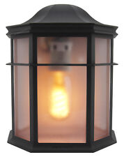 Vintage Outdoor Wall Light Black Flush Mount Frosted Glass Style Lantern Zlc080