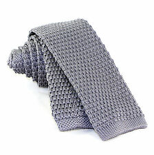 """Gray Solid Knit Men's Necktie Skinny 2"""" Fashion Knitted Square End Neck Tie"""