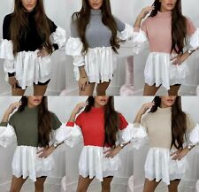 Women's Ladies Fine Ribbed Frill Ruffle Puff Sleeve Knit Jumper Shirt Blouse Top