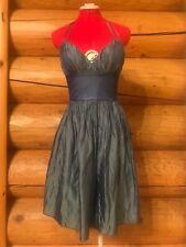 Lyndia Procanik Dusty Blue Empire Waist Halter Neck Cocktail Party Dress Size 2