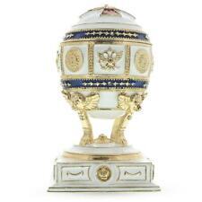Red Cross on White Enamel Royal Inspired Russian Egg