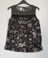 Next  Black Floral Print Linen Blend Shell Top Summer Holiday  - Size 10 - 16
