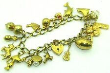 Ladies Womens 9ct 9carat Yellow Gold Traditional Charm Bracelet with 19 Charms