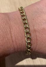 Heavy, Bold, Vintage 1970s, All Yellow Gold Dress Bracelet. Dog Clip Clasp.