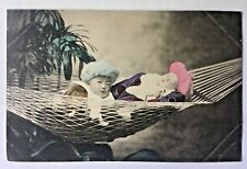 Tokyo, Japan 1910 HAND COLORED POSTCARD Two Japanese Babies in a Hammock