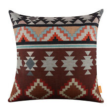 "18"" Vintage BOHO Zig Zag Linen Ikat African Geometry Cushion Cover Pillow Case"