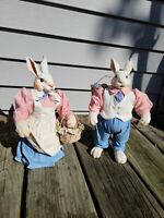 Vintage 1989 Possible Dreams Fabric Mache Rabbit Couple Easter