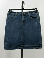 Christina Zinn slightly distressed denim jean skirt embellished pockets sz 6