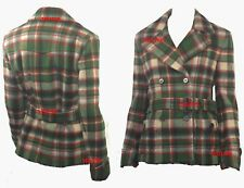 $598 Polo Ralph Lauren sz 8 Women's Green/Red Plaid Belted Peacoat Pea Coat NWT