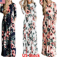 Women Floral Print Long Sleeve Beach Dress Lady Evening Party Long Maxi Dress US