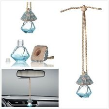 Blue Car Bling Accessories Mirror Hanging Diamond Crystal Bottle for Girls Women