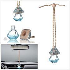 Blue Car Bling Accessories Mirror Hanging Diamond Crystal Bottle for Girls Women