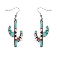 TURQUOISE CACTUS TURQUOISE SILVER INDIAN EARRINGS SOUTHWEST COWGIRL WESTERN