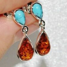 Sterling Silver Amber & Turquoise Ladies Dropper Earrings