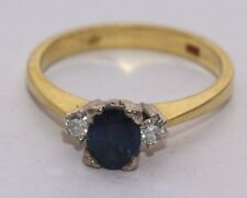 Secondhand 18ct Yellow Gold Sapphire and Diamond 3 Stone Ring Size J