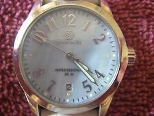 Pastorelli Women's water resistant/date watch white leather band new battery