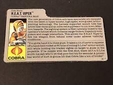 HASBRO VINTAGE GI JOE COBRA H.E.A.T. VIPER BAZOOKA MAN BIO FILE CARD RARE H-1