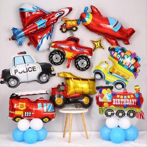 Birthday Foil Balloon Children Engineering Truck Police Car Birthday Party Decor