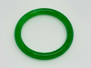 Gorgeous Green Jade/Jadeite Stone Crafted Round Pull On Bangle 19 CM #16305