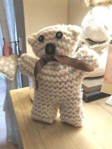 NOUNOURS fait main- tricoté laine ton ECRU