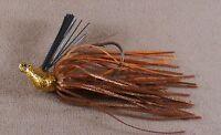 Bass Fishing Lure, DR Custom Flipping Jig 3/8 oz. FJ-22 Gold Brown, Orange Flash