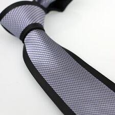 Coachella Ties Silver/Grey Stripes Black Border Necktie Microfiber Formal Tie